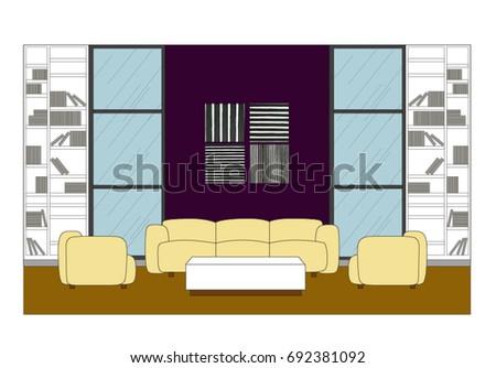 Beau Contemporary Room Elevation Design Vector