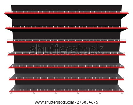 Contemporary shelving shop shelves and seven stops to fix the product. Vector illustration. - stock vector