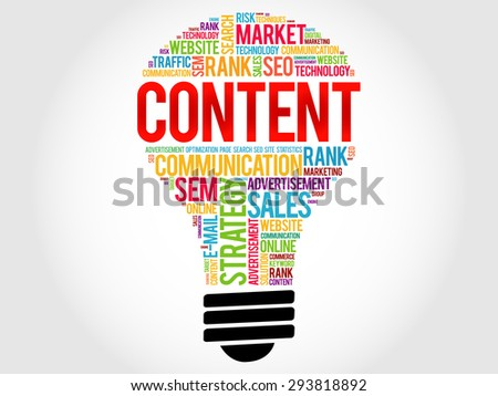 CONTENT bulb word cloud, business concept - stock vector