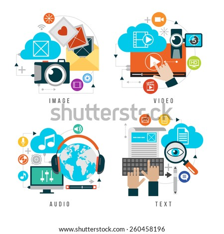 Content forms combined in multimedia. Set design video, audio, images, text. Flat icons set of website user interface design. Elements for mobile and web applications. - stock vector
