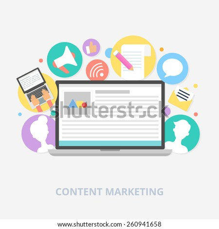 Content marketing concept, vector illustration