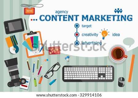 Content marketing design and flat design illustration concepts for business analysis, consulting, team work, project management. Content marketing concepts for web banner and printed materials. - stock vector