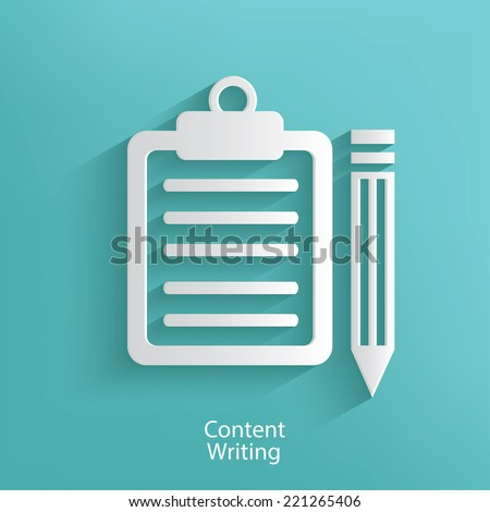Content writing symbol on blue background,clean vector - stock vector