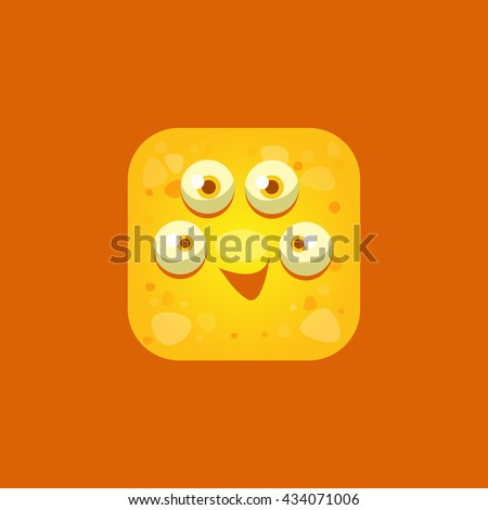 Content Yellow Monster Emoji Icon. Creative Vector Emoticon Alien Monster Face. Cartoon Monster Character Square Button Drawing. - stock vector