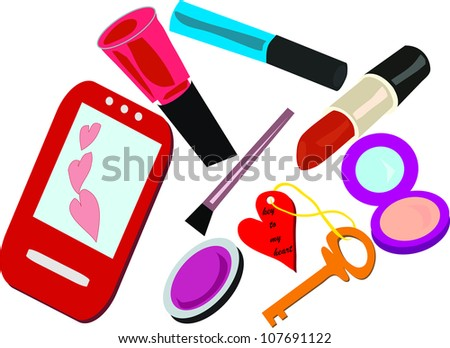 contents of a female handbag - stock vector