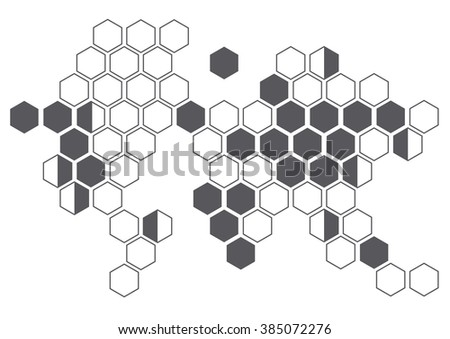 continent hexagon on white background wall pattern