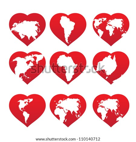 Continents inside red heart frame. Vector illustration. - stock vector