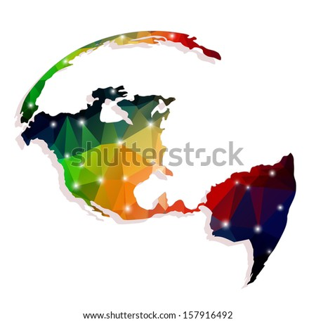 continents of polygons on a white background - stock vector