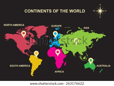 continents of the world, Asia, Europe, Australia, America - stock vector
