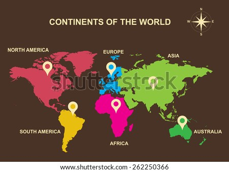 continents of the world, continents, Asia, Europe, Australia, South America, North America, Africa - stock vector