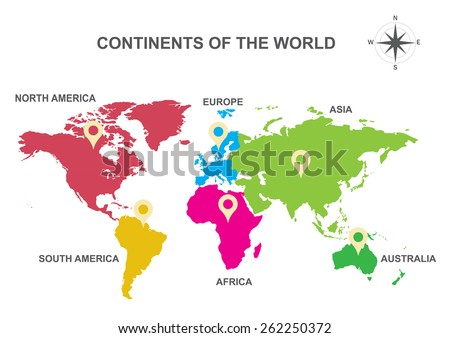 Continents world continents asia europe australia vector de continents of the world continents asia europe australia south america gumiabroncs Choice Image