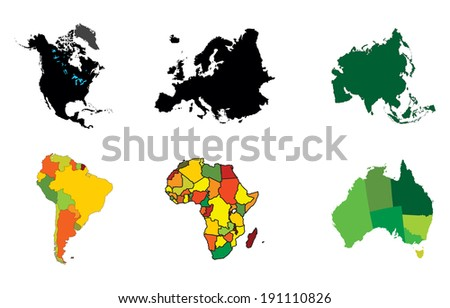 Continents Pictogram vector isolated on white background. High detailed illustration. - stock vector