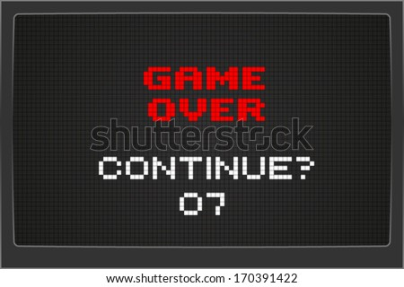 Continue after game over sign on computer screen - stock vector