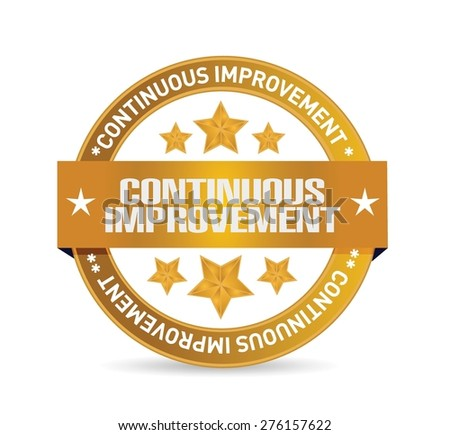 continuous improvement seal sign concept illustration design over white background - stock vector