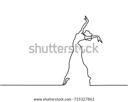 Continuous Line Art Drawing. Ballet Dancer ballerina. Vector Illustration. Total editable, choose thickness and place of line