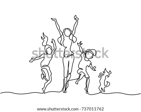 Continuous line drawing. Happy mother dancing with children and dog. Vector illustration.