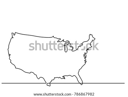 Continuous Line Drawing Map United States Stock Vector 786867982