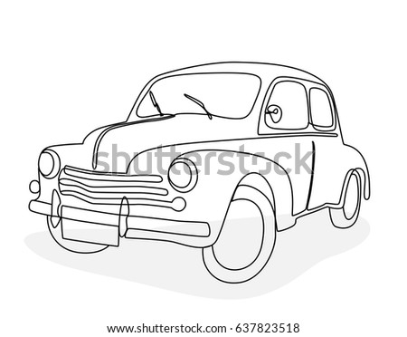 Continuous line drawing of an antique car