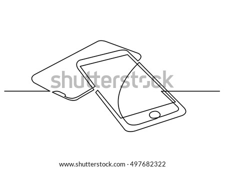 continuous line drawing of digital devices