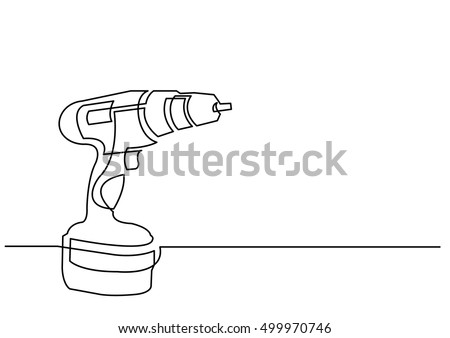 continuous line drawing of electric drill