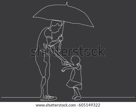 Line Art Umbrella : Continuous line drawing father daughter umbrella stock vector hd