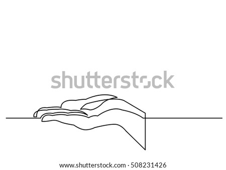 continuous line drawing of hand showing something