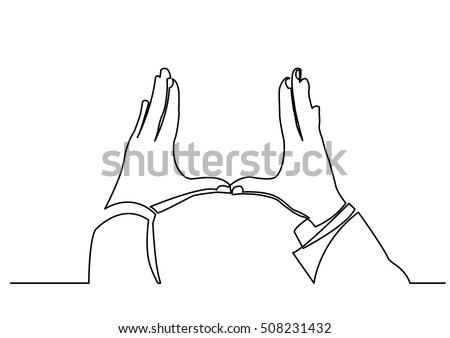 continuous line drawing of hands showing frame