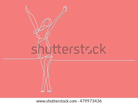 continuous line drawing of happy woman stretching