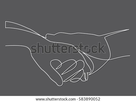 Line Drawing Holding Hands : Continuous line drawing holding hands together stock vector