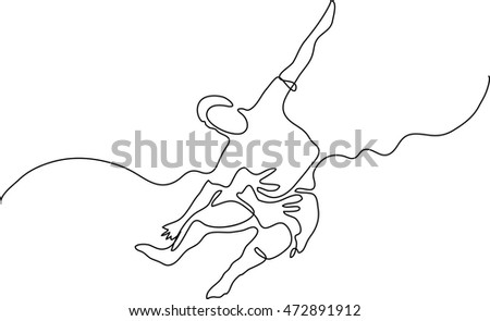 continuous line drawing of jumping flying man