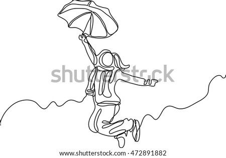 continuous line drawing of jumping happy woman with umbrella