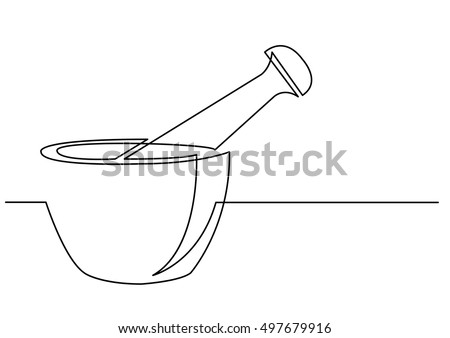 continuous line drawing of mortar and pestle