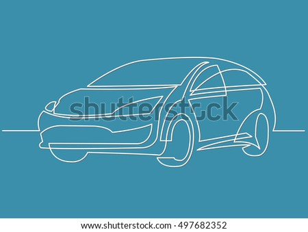 Line Drawing Car : Continuous line drawing motor car stock vector 497682352 shutterstock