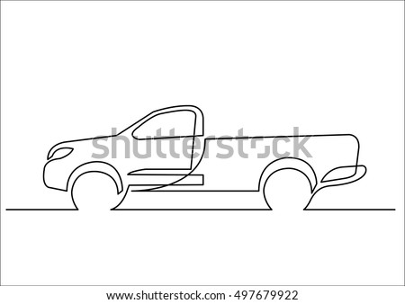 continuous line drawing of pickup truck