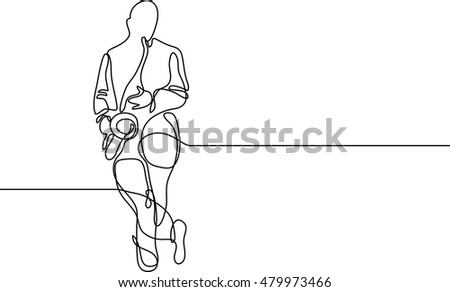 continuous line drawing of saxophone player standing