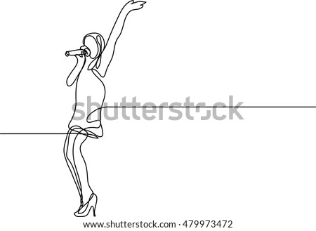 continuous line drawing of singing woman