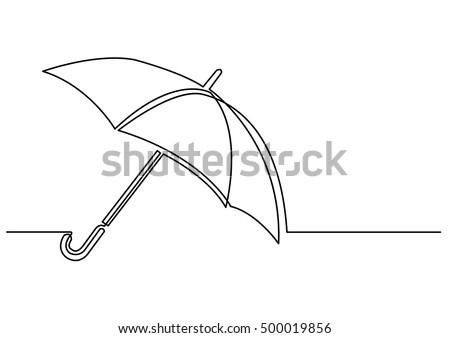 continuous line drawing of umbrella
