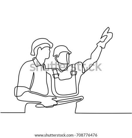 Continuous line drawing. Standing builders men holding tablet. Vector illustration on white background