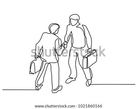 Continuous line drawing. Two businessmen meeting handshake. Vector illustration