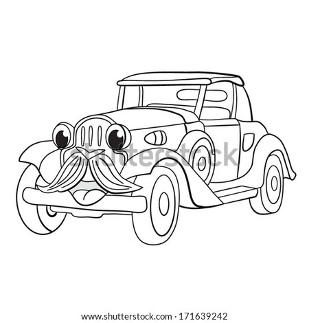 Contour black-white cartoon of merry hipster retro-car. Coloring book. - stock vector
