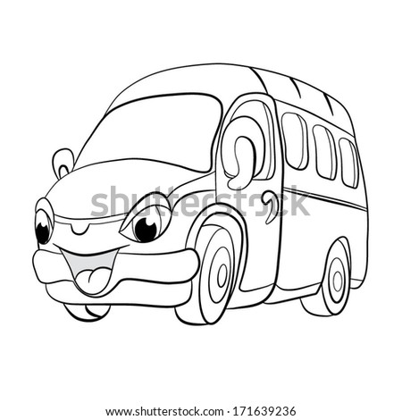 Contour black-white cartoon of merry minibus. Coloring book. - stock vector