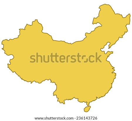 Contour border map of the China  - stock vector
