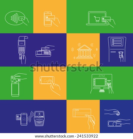 Contour concept vector illustrations set of payment methods such as credit card, nfc, mobile app, atm, terminal, website, bank transfer, cash and invoice. Line thickness fully editable! - stock vector