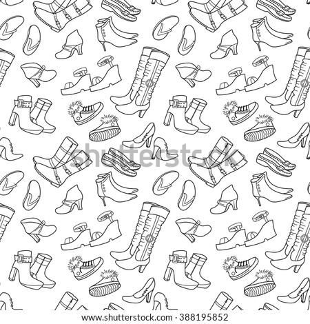Contour female seamless pattern with shoes - stock vector