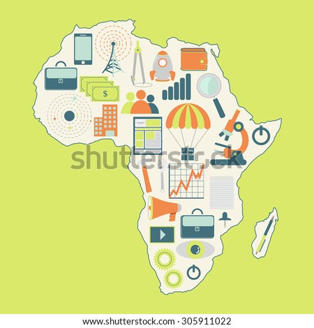 Contour map of Africa with icons of technology, business, science, communication. - stock vector