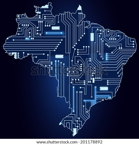 Contour map of Brazil with a technological electronics circuit. Map of brazil with electronic circuit - stock vector