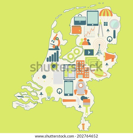 Contour map of Netherlands with icons of technology, business, science, communication. Map of Netherlands with technology icons