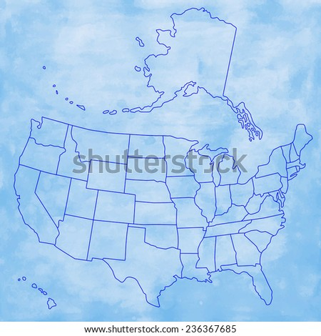 Contour Map Usa On Watercolor Background Stock Vector 236367685