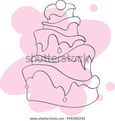 Contour of a cake with cream on a pink spot, vector illustration