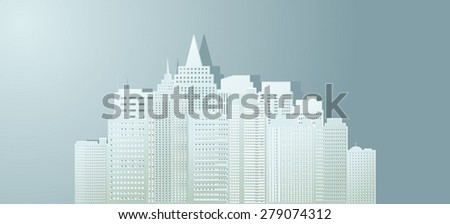 Contour of buildings of the city from paper. - stock vector